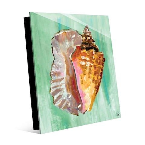 Kathy Ireland Strombus Seashell on Green Nautical on Acrylic Wall Art Print