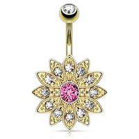 Paved Gems Flower With Center CZ gold-plated Navel Belly Button Ring