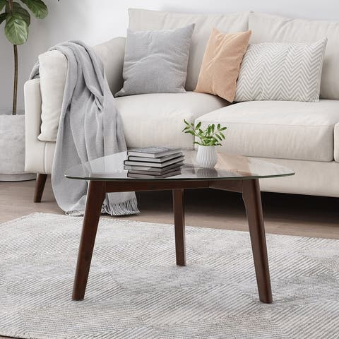 Wasco Indoor Wood and Glass Coffee Table by Christopher Knight Home