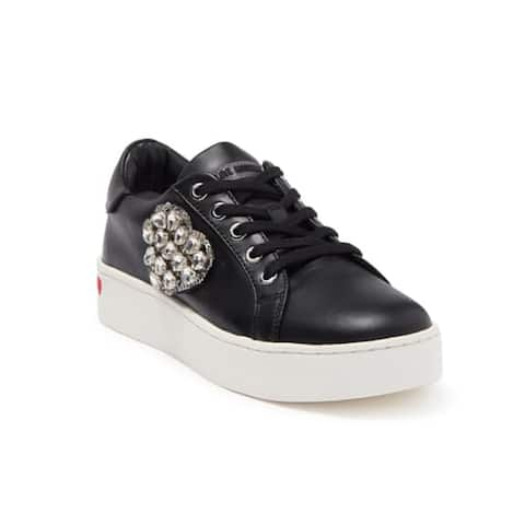 Love Moschino Women's Leather Vitello Embellished Low-Top Sneakers Black
