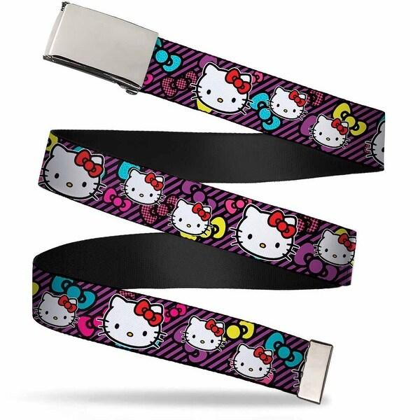 Blank Chrome Bo Buckle Hello Kitty Multi Face W Stripes Bows Black Web Belt