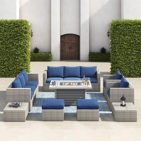 Corvus Trey 13-piece Wicker Patio Sectional Sofa Set