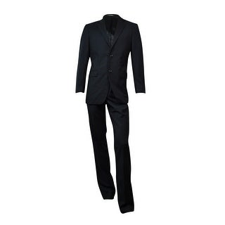 Jones New York Men's 24/7 Solid Herringbone Athletic Fit Suit (Black, 40L x 32) - Black - 40 Long