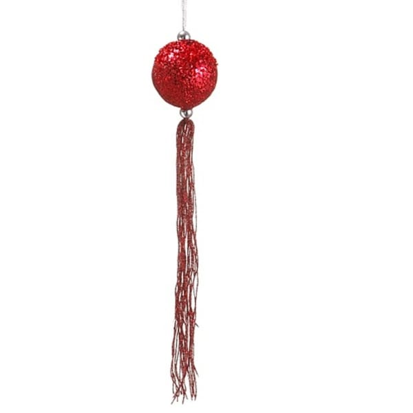 "12"" Christmas Brites Red Glitter Christmas Ball Ornament with Tassels and Beads"