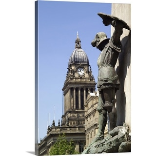 """Statue of St George and Leeds Town Hall, Yorkshire, England"" Canvas Wall Art"