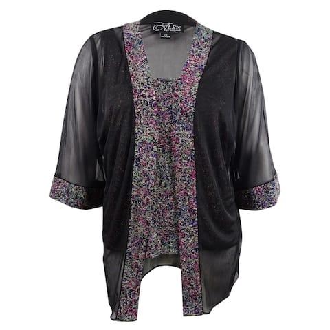 Alex Evenings Women's Plus Size Printed Sparkle-Embellished Jacket & Shell - Black