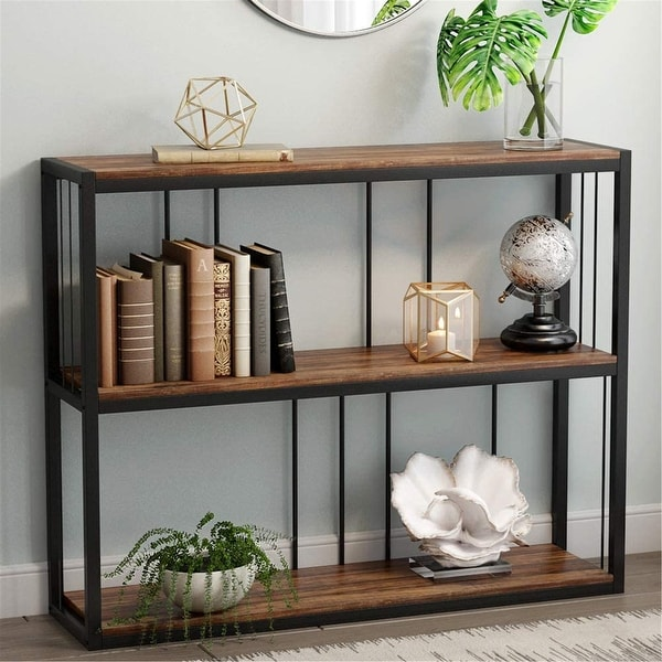3-Tier Vintage Industrial Console Table Sofa Table - Rustic-brown. Opens flyout.