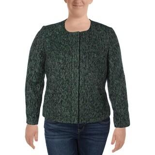 Kasper Womens Petites Collarless Blazer Tweed 2-Pocket - 14P