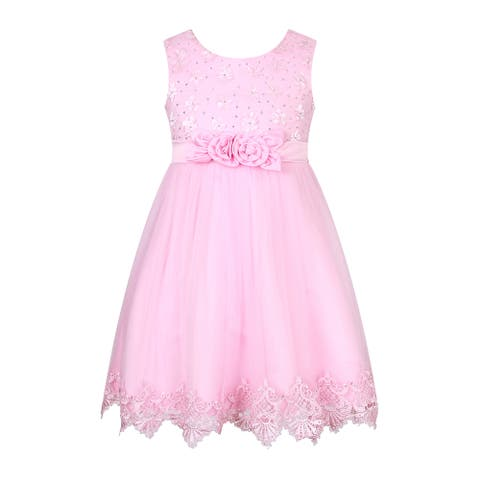 Richie House Girls' Princess Party Dress with Flower Accents