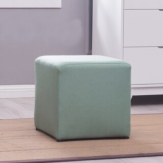 Belleze Cube Ottoman Foot Stool Upholstered Multi-function Seating Home, Green / Purple