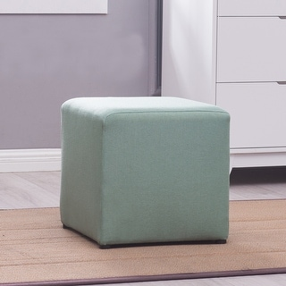 Belleze Square Ottoman Foot Rest Cube Stool, Green
