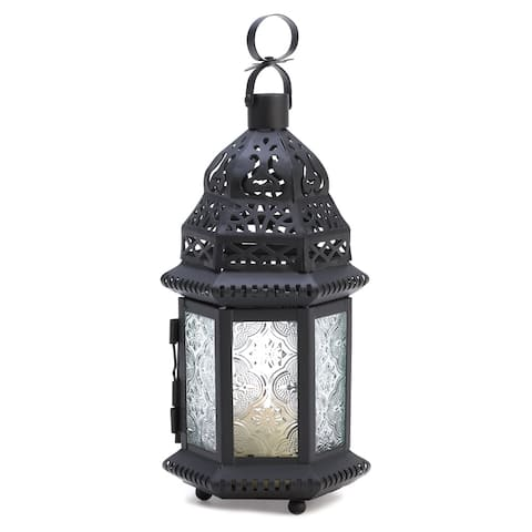 Clear Glass Moroccan Lantern - Black