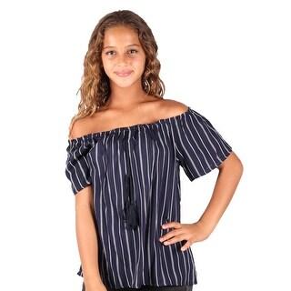 Lori & Jane Girls Navy Stripe Cold Shoulder Loose Fit Top