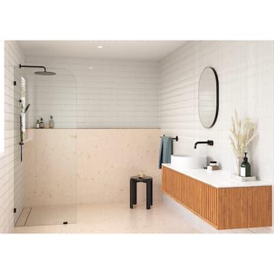 "Glass Warehouse 30"" x 78"" Frameless Shower Door - Single Fixed Panel Radius"