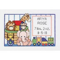 "Noah's Ark Birth Sampler Mini Counted Cross Stitch Kit-6""X4"" 14 Count"