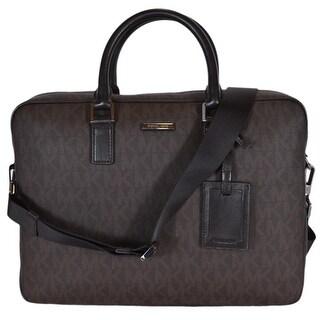 Michael Kors Men's Brown Coated Canvas Logo Jet Set Briefcase Bag