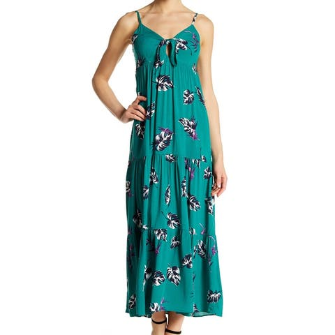 fa6549d7c2 Soprano Green Printed Cutout Smock Women's Size Medium M Maxi Dress