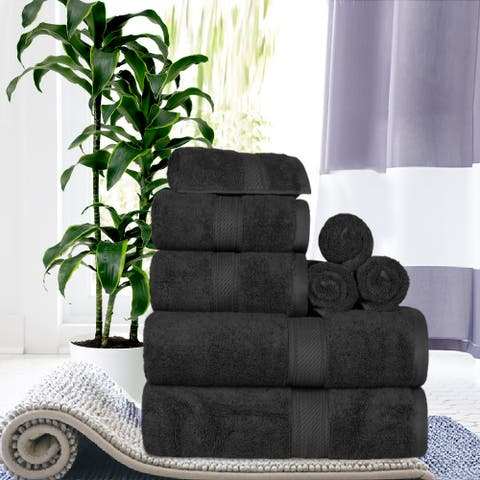 Superior Egyptian Cotton Highly Absorbent 8-Piece Solid Towel Set
