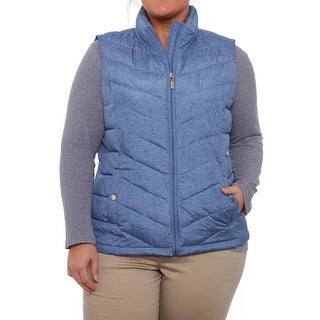 Charter Club Women Lucy Quilted Zipper Vest Vest Chambray Combo