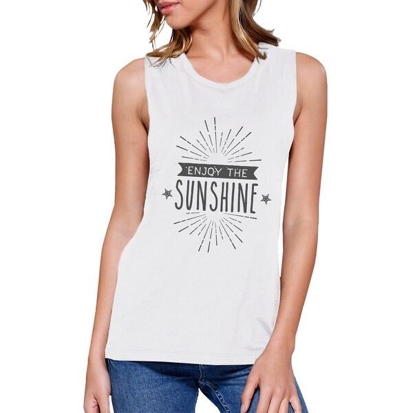 a965b048f75665 Shop Enjoy The Sunshine Womens White Summer Cotton Sleeveless T ...