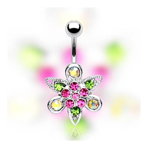 Stainless Steel Multi-Colored Gem Paved Fantsy Flower Navel Belly Button Ring