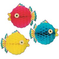 "Club Pack of 12 Bright Multi-Colored Honeycomb Tissue Tropical Bubble Fish Hanging Decorations 12"" - Multi"