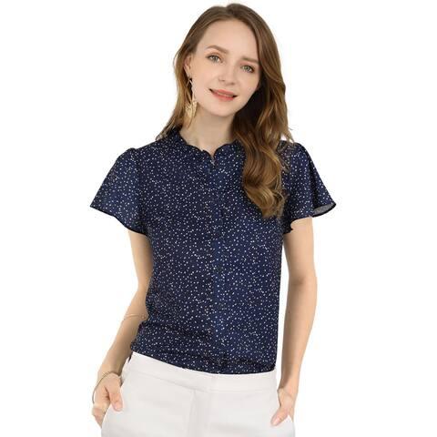 Unique Bargains Women's Dot Print Ruffle Sleeve Button Up Blouse Top - Blue