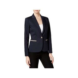 Tommy Hilfiger Womens One-Button Blazer Elbow-Patch Casual