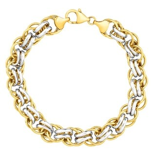 Double-Link Bracelet in 14K Gold-Bonded Sterling Silver - Two-tone