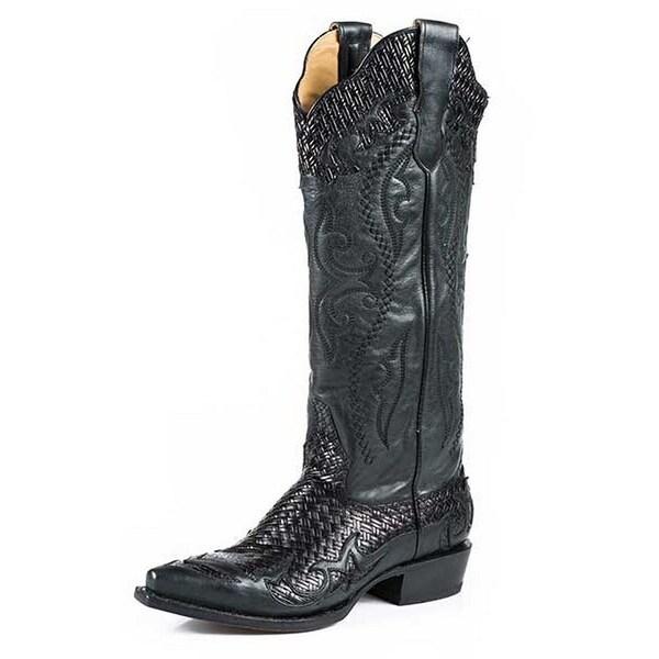 Stetson Western Boots Womens Zipper Snip Black