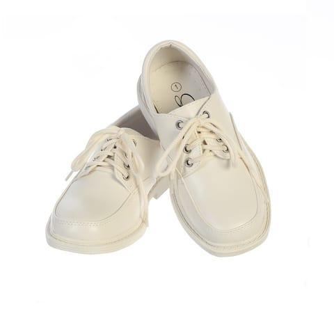 Boys Ivory Matte Lace-Up Closure David Dress Shoes
