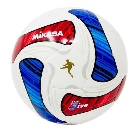Mikasa SWA Series Size 5 Soccer Ball, White/Blue/Red