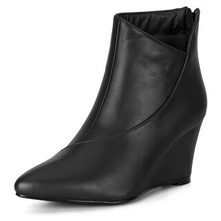 Women's Pointed Toe Zipper Wedge Heel Ankle Booties