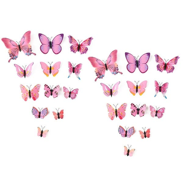 Net Rose Gold 2 24Pcs Rose Gold Butterfly Wall Sticker Decal 3D Metallic Art Butterfly Mural Decoration DIY Flying Stickers for Kids Bedroom Home Party Nursery Classroom Offices D/écor