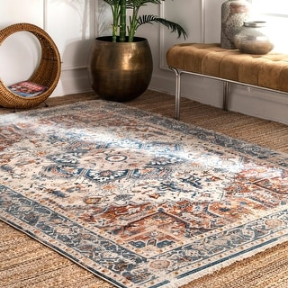 Link to nuLOOM Traditional Tribal Mystic Kadzia Fringe Border Area Rug Similar Items in As Is
