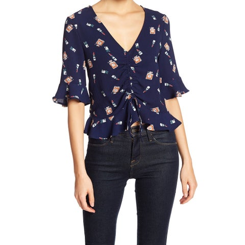 Elodie Blue Womens Size Medium M Print V-Neck Flutter Trim Blouse