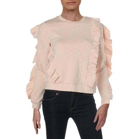 Rachel Rachel Roy Womens Sweatshirt Ruffled Crewneck - XS