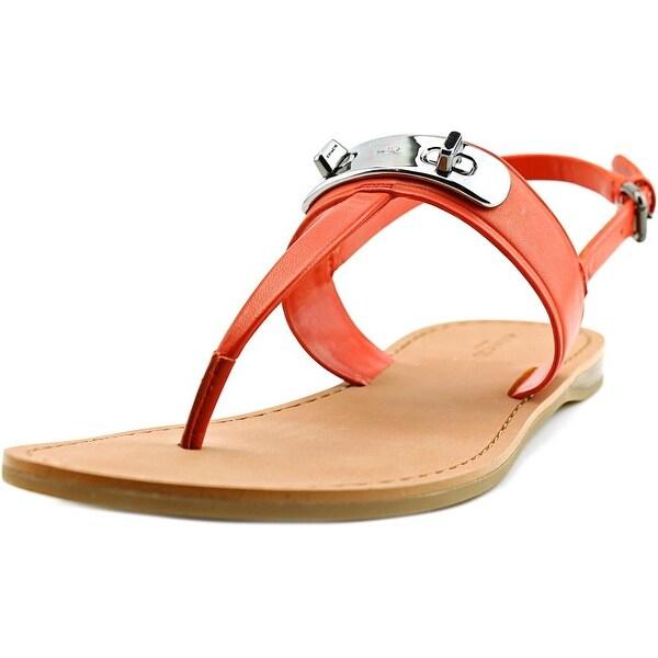 Coach Gracie Women Open-Toe Leather Orange Slingback Sandal