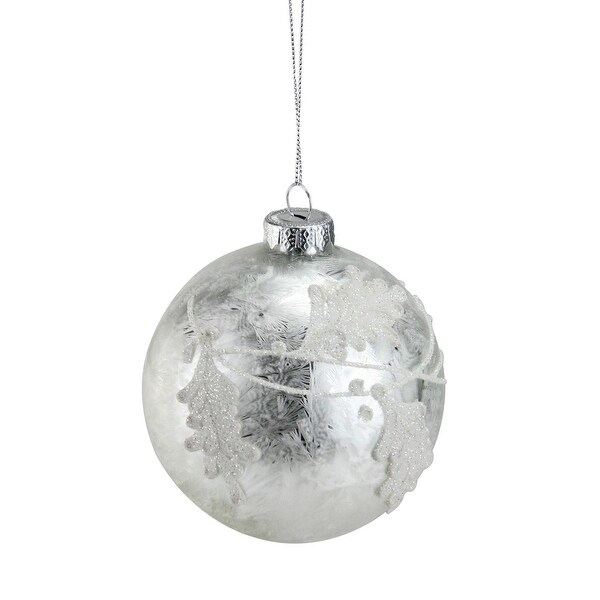 "Iced Sliver with White Glitter Leaves Glass Ball Christmas Ornament 3.25"" (80mm) - silver"