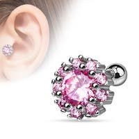 {Clear/Pink} Cluster CZ Flower 316L Surgical Steel Cartilage/Tragus Bar (Sold Individually)