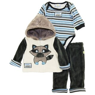 Duck Goose Baby Boy Trouble Raccoon Warm Sherpa Jacket Snap On Bodysuit Pant Set