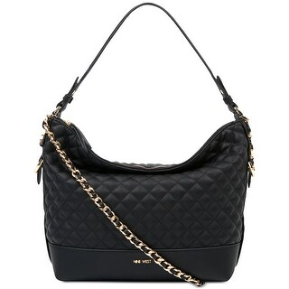 Nine West Elinora Quilted Chain Medium Hobo Bag Black/Gold - One Size