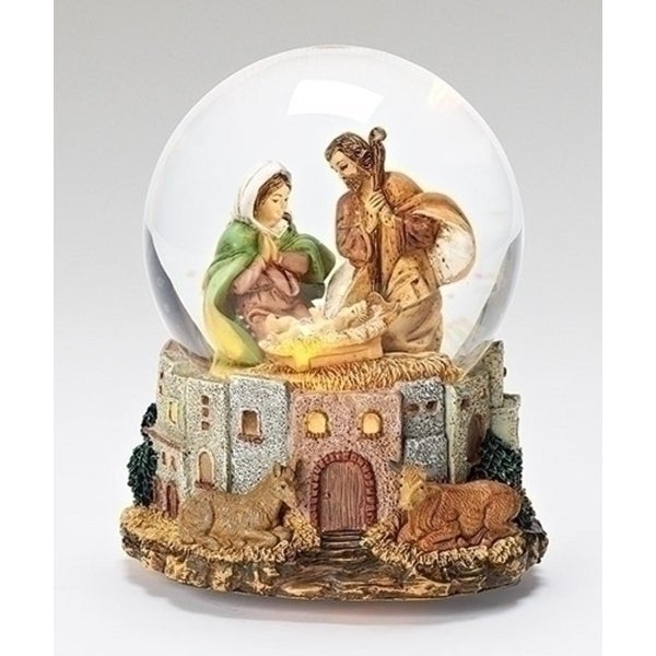 "Fontanini 7"" ""O Little Town of Bethlethem"" Musical Religious Nativity Glitterdomes #59081"