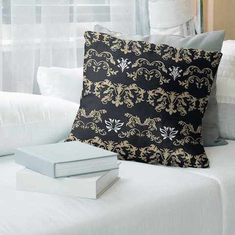 New Orleans Football Baroque Pattern Accent Pillow-Spun Polyester