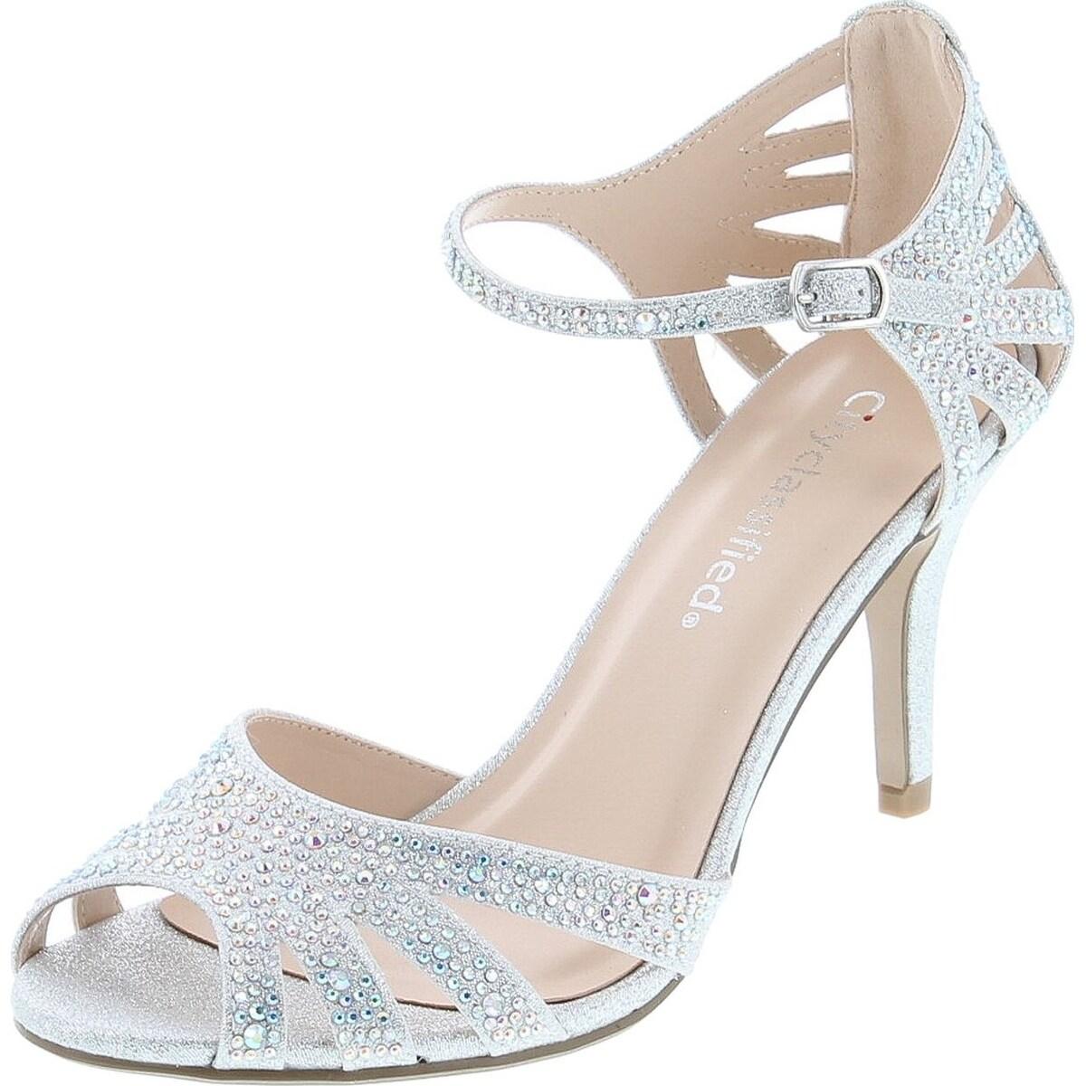 silver open toe low heels