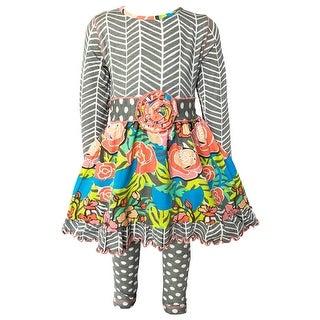 Link to AnnLoren Girls Fall Winter Herringbone Floral Polka Dot Dress & Leggings Clothing Outfit Set Similar Items in Girls' Clothing