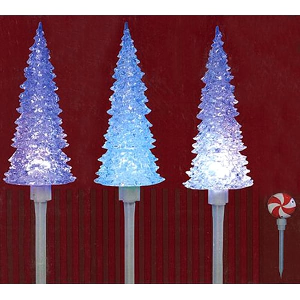 Set of 3 LED Lighted Color Changing Musical Christmas Tree Pathway Marker Lawn Stakes - CLEAR