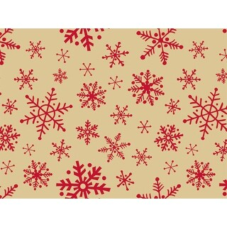 """Pack Of 120, Woodcut Snowflakes Kraft Recycled Christmas Printed Tissue Paper 20"""" x 30"""" Sheets Half Ream"""