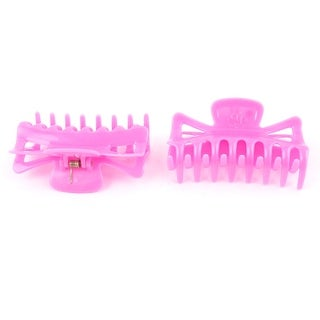 Fuchsia Plastic Hair Jaw Clip Claw Clamp Hairclip Hairpin 2Pcs