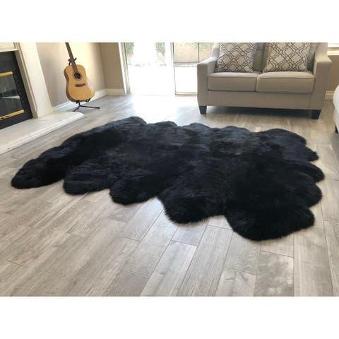 """Dynasty 10-Pelt Luxury Long Wool Sheepskin Black Shag Rug - 5'5"""" x 8'6"""""""